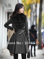 New Women's Winter Elegant Slim Fit Long Coat Jacket Woolen Faux Fox Wool Collar Outwear Warn Overcoat Free Shipping CMO-0003