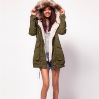 Free Shipping Fashion Brand  Women's Winter Army green Berber Fleece Lining Casual Coat Trench  Ladies Outerwear