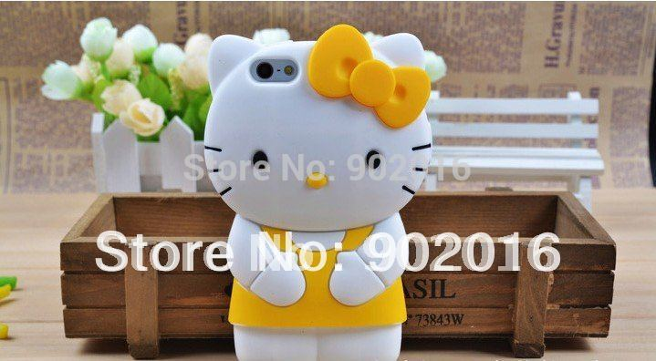 10pcs/lot free shipping Cute 3D Hello Kitty silicone case for iphone 5(China (Mainland))