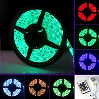 (10sets/lot) Waterproof 12V 5M 60leds/m 5050 RGB LED Strip light band LED Flexible Strip Ribbon tape+24 key Remote Control