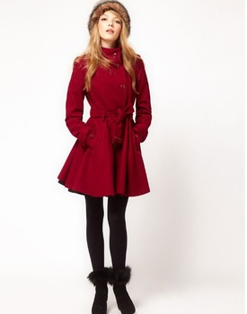 Free shipping 2012 winter slim fit fashion long brand LADY trench overcoat (black red )