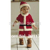 2014 roupas meninos clothing sets clothing set free shipping 3sets/lot x'mas baby boy romper+hat baby's suits 300 wholesales
