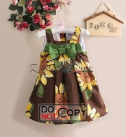 Платье для девочек 2013 Toddler Girl Dresses Brown Dot Baby Dresses Party With Bow Infant Flower Dress Children Clothes C121114-3