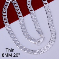 """Hot 925 Sterling Silver 8mm 20"""" Flat Chain Necklace Mens Necklace.Freeshippingcn034"""