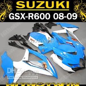 Sky blue&white fairing kit for GSXR 600 750 2008 2009 K8 GSXR600 GSXR750 08 09 10 GSX-R750 GSX-R600(China (Mainland))