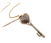 Vintage Antiqued Palace style Heart Key Locket Pendant Necklace. Free Shipping 15 Pcs/lot