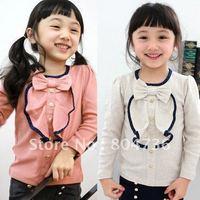 Free Shipping! 5pcs/1 lot New fashion girls t shirt bowtie girls T shirts girls tops long sleeve children's T shirts 2-8 years