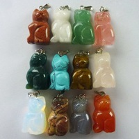 Wholesale 12pcs Carved mixed stone cat Pendant Bead