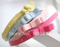 free shipping hot sell fashion pu colorful bow pu belt , lady belt, lovely belt