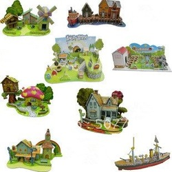 New arrival! Fashion Wholesale 3d puzzle children toy diy handmade futhermore paper model 3pcs/lot,CPMA Free Shipping(China (Mainland))