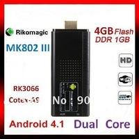 New arrival!!Rikomagic MK802 III Dual Core Mini Android 4.1 TV BOX  PC RK3066 1.6Ghz Cortex A9 1GB RAM 4G ROM HDMI [MK802-III]