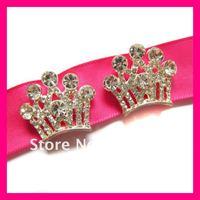 Free shipping (150pcs/lot) 100% good quality rhinestone crown ribbon slider buckle