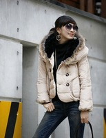 Autumn winter fur collar warm women jacket short outerwear coat