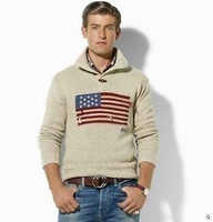 Men's sweaters,cashmere pullovers.Turn-down collar sweaters.Brand USA flag sweaters,Men's knitted sweater.Top quality