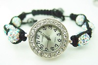 wholesale shamballa bracelet watch women ladies fashion shamball crystal bead quartz wrist women watch