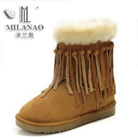 2012 Fashion Tassel mid-leg genuine leather cow muscle sole snow boots women winter keep warm shoes waterproof outdoor footwear