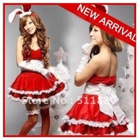 free shipping new arrival women's sexy christmas dress sets,christmas bunnies girls cosplay dress set free size
