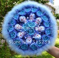 Free shipping Strange new creative gifts Doraemon simulation flowers rose cartoon bouquet/Valentine Gift D919