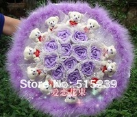 The 11 bears +9 purple simulation bouquet creative gifts strange new birthday gift/Wedding Bouquet/+free shipping  D930