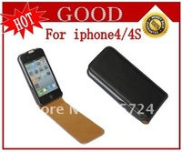 New High Quality Leather Flip Skin Case Cover For original iphone 4 4G 4S Free Shipping