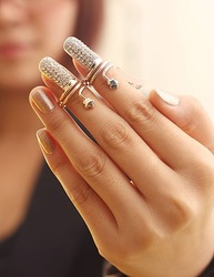 New Arrival Punk Cool charms Nail Sets Jewellery Finger Rings / Fake Nail Art Rings Women SP-JZ-72069(China (Mainland))