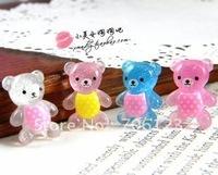 DIY Garment hair decorations Accessories lovely bear 15mm FlatBack Resin 100pcs Mix colors