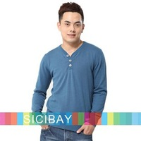 Men's Pullover V-neck Solid Color Button Design Fashion Sweaters for Spring Wear, Free Shipping  M0030