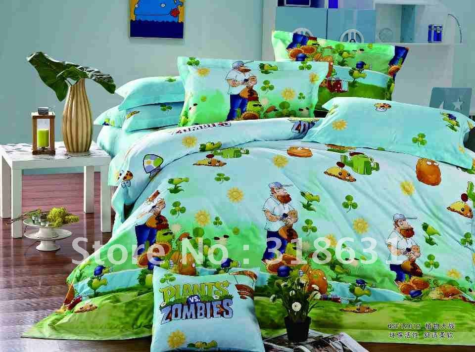 Hot Sale New Listing bedding sets comforter sets 5pcs PLANTS VS ZOMBIES duvet cover bed in a bag Best Choice for Xmas Gift(China (Mainland))