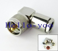 10pcs/lot UHF male right angle connector nickelplated plug for coaxial cable free shipping