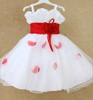 Children's Dress 2014 New Arrival Girls Flower Dress Party Wedding Formal Dance Porformance White Kids  Free Shipping A34