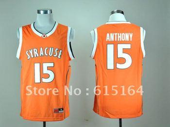 Free Shipping NCAA Colleage Basketball Jerseys Syracuse Orange # 15 Anthony Orange Jersey Size:48-56 Mix Order