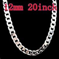 925 Silver Necklace 12mm 20inch For Men's Curb Necklaces ! Fashion Jewelry ! Free Shipping