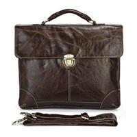 Classic Vintage Leather Men's Chocolate Briefcase Laptop Bag Men Messenger Handbag #7091 2015 Hot Selling business bags