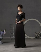 Wholesale - - Black long Sleeve Flooer Length Chiffon Mother Of The Bride Dresses with Bolero 3730