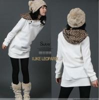 Autumn plus size  sweet girl hoody, long design slim hip leopard print cap sweatshirt.woman outerwear,whosale free shipping