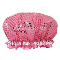 glitter shower cap in pink