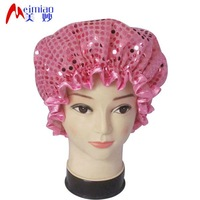 glitter shower cap in pink