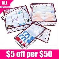 Free Shipping Korean Style Bear Head Transparent Cover Underwear Storage Box 1set/lot