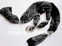 Minmum $10, mixed items, 1pcs/lot,Oval Crystal Pendant Black Chiffon Summer Scarf, free shipping