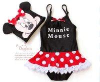 YY-101, 5sets/lot new style children swimsuit sets Minnie girl's swimwear sets bikini+hat top quality baby beachwear wholesale