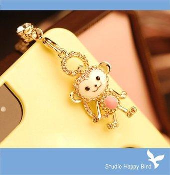 Bling Crystal Cute Animal Hanuman Monkey Cell Phone Charm Cap Anti Dust Plug for iPhone 5&Samsung Galaxy S3 Headphone 3.5mm Jack