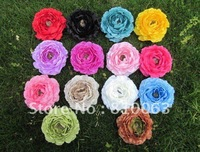 120pcs 2012 Newest Lowest Price Fashion girl's 4inch multilayer 4 inch Ruffle Ranunculus flowers baby 4' flower girls' Hair bow