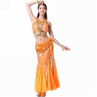 Belly dance set piece set stretch fabric top long fish tail skirt copper belly chain