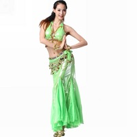 Belly dance set piece set silver stretch fabric top long fish tail skirt paillette belly chain