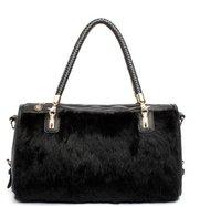 2012 new arrival winter classic black fake fur bag, Korean style handbags, women's fashion bag,messenger bag+free shipping