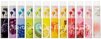 free shipping 50pcs/lot   colorsful to choose fruit earphone in ear headphones & headphones earphones