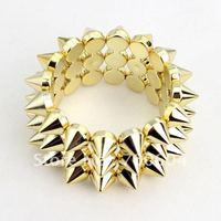 2014 New design Fashion Cheap Jewelry Style Spike Rivet Gold wide cuff punk bangle for women & men wholesale