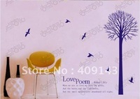 love poem tree bird vinly PVC  wall sticker DIY art drawing house room wall quote decal decoration