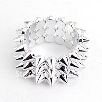 2014 new design Cheap Jewelry  Style Spike Rivets silver wide Punk  Bangle for women & men, wholesale