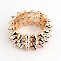 High Quality Hot Sale New Fashion Cheap Jewelry Style Spike Rivets Gold wide Punk bangle for women & men